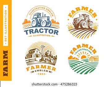 Set Illustration farm logo, emblems on white background
