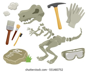 Set Illustration Featuring Paleontology Related Items Including Dinosaur Fossils, a Pair of Gloves, a Rock Hammer, a Pair of Goggles, and Brushes of Different Sizes