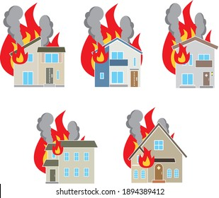 Set illustration of a house in a fire