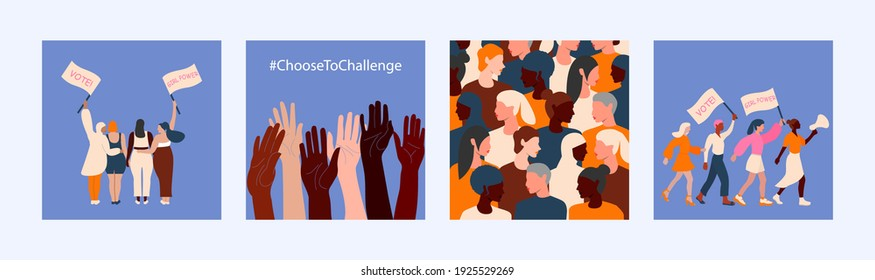 Set of illustration for International women's day campaign theme Choose To Challenge. 8th march. Vector template in flat style for greeting card, postcard, banner, flyer and other.
