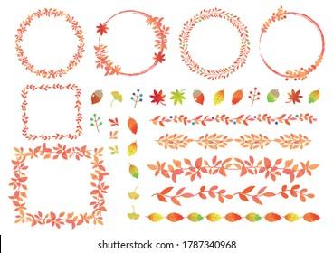 Set illustration of material of autumn motif.