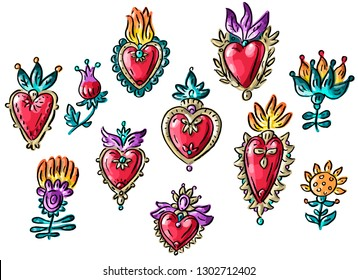 Set illustration with mexican Valentine's day flowers hearts