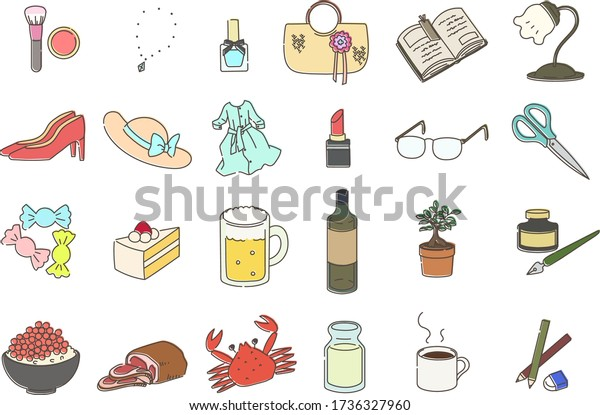 Set illustration of miscellaneous goods
