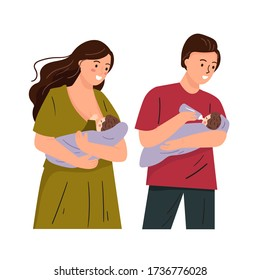 Set illustration of mother and father feeding baby. Mom breastfeeding cute flat illustration