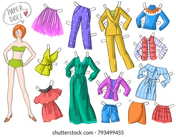 Set illustration with paper doll and clothing