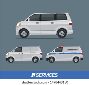 Set Illustration of Van Car Mpv with 4 doors, sliding door, and service branding for company