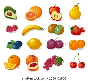 set of illustration of various fresh fruits and berries