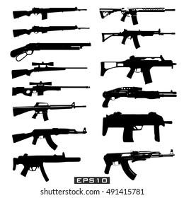 Set illustration of weapons.