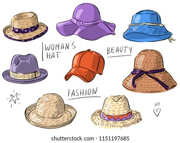 Set illustration with woman's hats, fashion hats, baseball cap, straw hat, felt hat, summer hat, cap, combi bucket wmns hat
