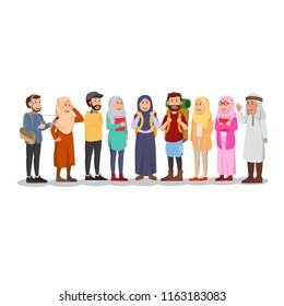Set Illustration Young Arabian Casual Student Cartoon Illustration