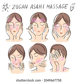 Set illustration with zogan asahi massage
