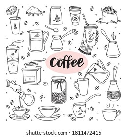 Set of illustrations about coffee.  Cup, decanter, jar of beans, pot for brewing coffee, Turk, paper cup, hand, coffee grinder, bag of beans, paper packaging.  Vector.  Doodle style.