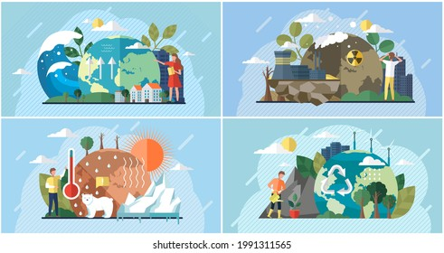 Set of illustrations about impact of human activity on environment. People use planet natural resources and try to protect Earth. Raising global temperature, climate change, ecology problems awareness