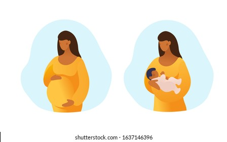 Set of illustrations about pregnancy and motherhood. Pregnant black woman. Girl with a newborn baby. Simple flat picture isolated on white background