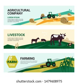 Set of illustrations with agriculture, farming,livestock, harvest. Illustrations of a tractor, hayfield, haystack rolls, farm animals,cows and horse in pasture. Template for banner, annual report,web