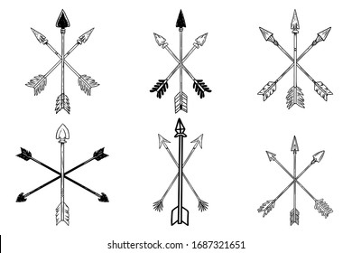 Set of illustrations of ancient crossed arrows of native americans in engraving style. Design element for poster, label, sign, emblem, menu. Vector illustration