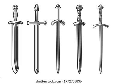 Set of illustrations of ancient swords in engraving style. Design element for logo, label, sign, poster, t shirt. Vector illustration