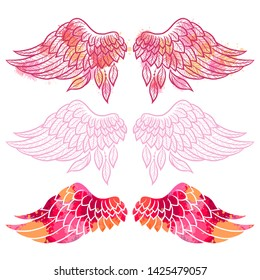 Set of illustrations with angel wings. Sketch. Freehand drawing
