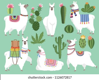 Set illustrations of animals. Llama and alpaca wool. Cute character animal lama, vector illustration