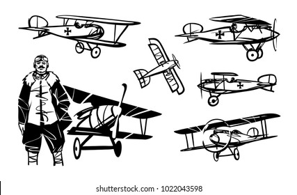 Set of illustrations of biplanes of the First World War. German pilot of World War I against the background of the biplane.