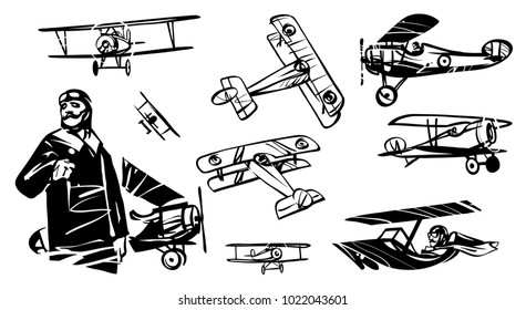 Set of illustrations of biplanes of the First World War. French pilot of World War I against the background of the biplane.