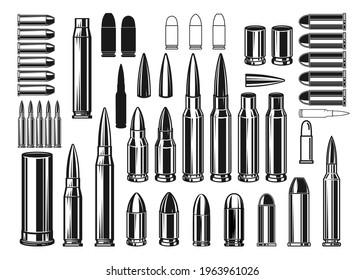 Set of Illustrations of bullets and cartridges in vintage monochrome style. Design element for logo, label, sign, emblem, poster. Vector illustration