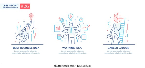 Set of illustrations with business concept. Workflow, growth. Business development, milestones, start-up. linear illustration Icons infographics. Landing page site print poster. Eps vector. Line story