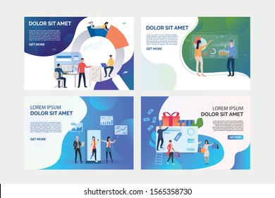 Set of illustrations of business people using technologies. Gadget, statistics, commerce. Flat vector. Business consulting concept for banner, website design or landing web page