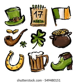 A set of illustrations for celebrating St. Patrick's Day. Leprechaun hat, pot of gold, clover and flag.