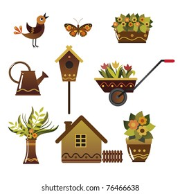 Set of illustrations of characters for fans of the garden.