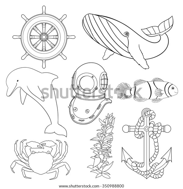 Set Illustrations Children Coloring Pages Black Stock Vector ...