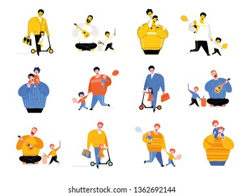 Set of illustrations Children playing with father. Ukulele and drum, amusement park, riding a scooter. Happy weekend with dad.