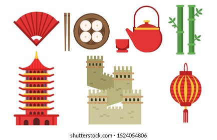 Set Of Illustrations With Chinese Culture Elements Isolated On White Background