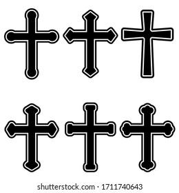 Set of illustrations of christian religious crosses. Design element for infographic, emblem, sign, poster, car, banner. Vector illustration