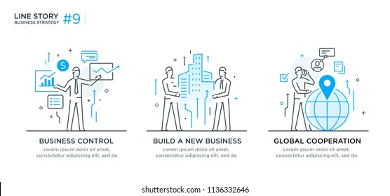 Set of illustrations concept with business concept. Workflow, growth, graphics. Business development, milestones, start-up. linear illustration Icons infographics. Landing page site print poster. Line