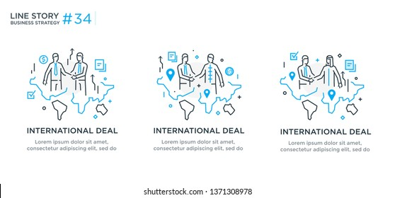 Set of illustrations concept with business concept. Workflow, growth, graphics. Business development, international cooperation. linear illustration Icons infographics. Landing page site print poster