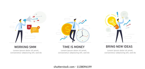 Set of illustrations concept with businessmen character. Workflow, growth, graphics. Business development, milestones. linear illustration Icons infographics. Landing page site print poster