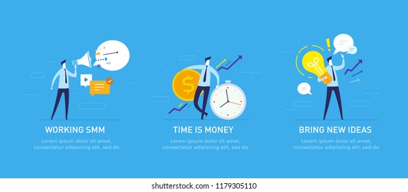 Set of illustrations concept with businessmen character. Workflow, growth, graphics. Business development, milestones. linear illustration Icons infographics. Landing page site print poster. Eps