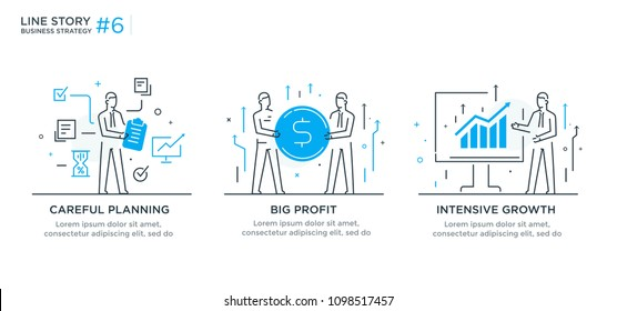 Set of illustrations concept with businessmen. Workflow, growth, graphics. Business development, milestones. linear illustration Icons infographics. Landing page site print poster. Line story