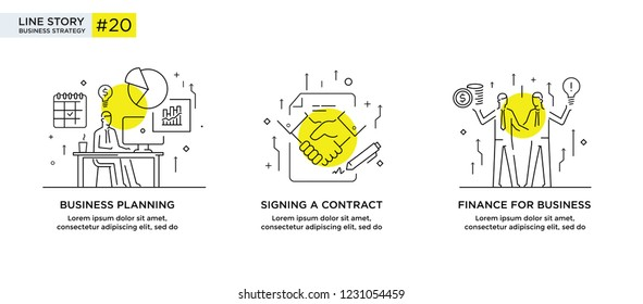 Set of illustrations concept with businessmen. Workflow, growth, graphics. Business development, milestones. linear illustration Icons infographics. Landing page site print poster. Eps vector. Line