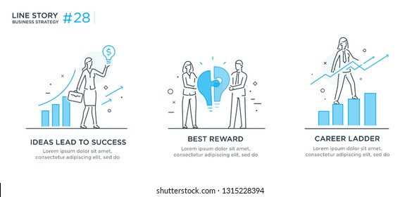 Set of illustrations concept with businessmen. Workflow, growth, graphics. Business development, milestones. linear illustration Icons infographics. Landing page site print poster. Eps vector