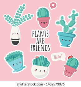 set of illustrations of cute cartoon cactus and succulents with funny kawaii faces in pots and with plants. can be used for cards, invitations or like sticker. Plants are friends, cute cacti prints