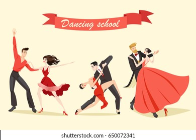 Set of illustrations of cute couples dancing ballroom and Latin dances