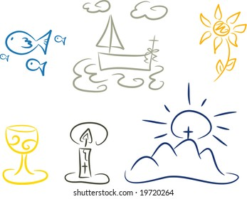 Set of illustrations depicting symbols of christianity including fishes, fishing boat, cross, flower, light, mountain and chalice (vector)