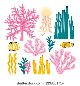 set of illustrations of different seaweeds and corals in pastel colors. underwater set in cute cartoon style