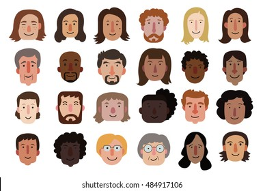 Set of illustrations of diverse faces