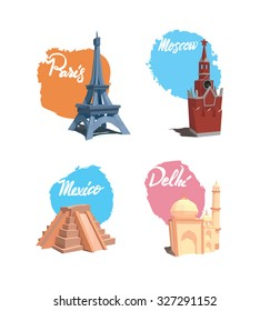 set of illustrations of famous capitals of the world
