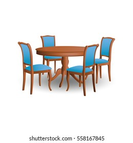 A set of illustrations - furniture vector icon. Element 10 table and chairs.