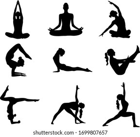 set of illustrations of a girl in a yoga pose