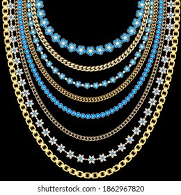 Set of illustrations of gold chains, beads of precious stones in a large necklace.